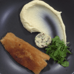 Whiting fillet with calvados